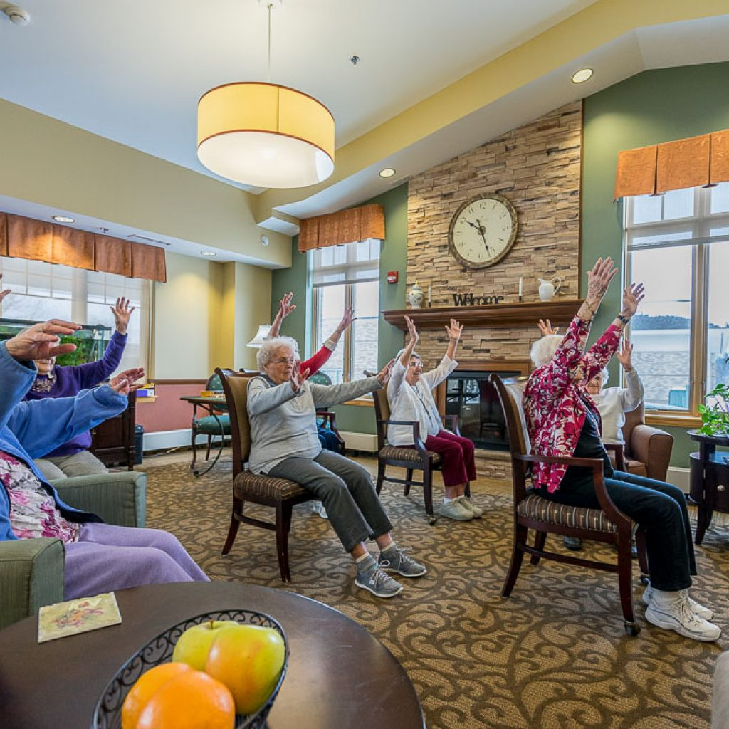 Chair exercises for seniors with music at a Mt Vernon nursing home.