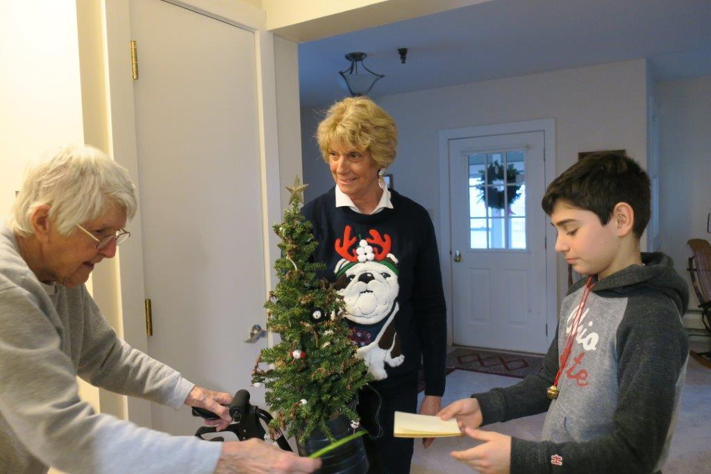 The delivery of a miniature Christmas tree from a young man to an elderly woman.