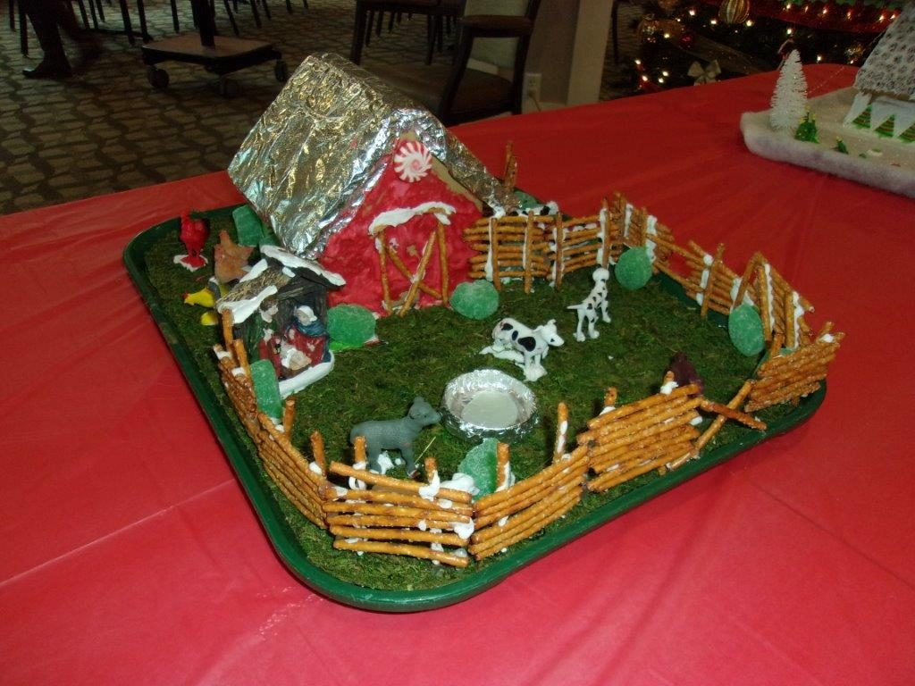Farm-themed gingerbread house.