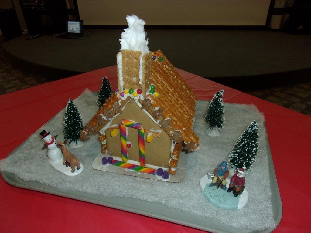 Log cabin gingerbread house.