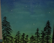 A canvas upon which has been painted a beautiful and haunting forest with a green and blue sky full of stars above.
